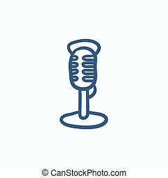 Retro microphone sketch icon.