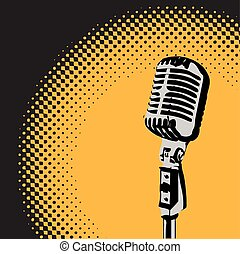 Retro Microphone Spotlight vector 2 - Retro microphone with...