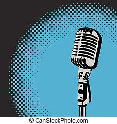 Retro Microphone Spotlight vector 3 - Retro microphone with...
