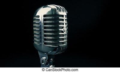 Retro Microphone Tracking Shot - Tracking shot moving slowly...