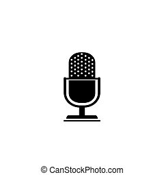 Retro microphone vector icon isolated on white