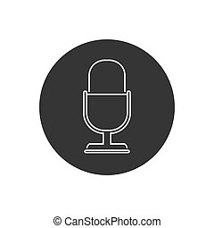 Retro microphone vector line icon isolated on white background