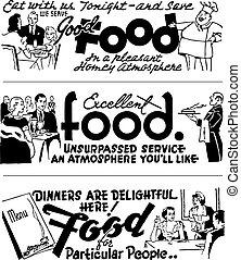 retro, middagsgäst, vektor, annonsering, grafik
