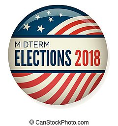 Retro Midterm Elections Vote or Election Pin Button / Badge...