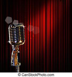 retro, mikrofon, és, piros függöny