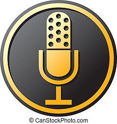 retro, mikrofon, ikon