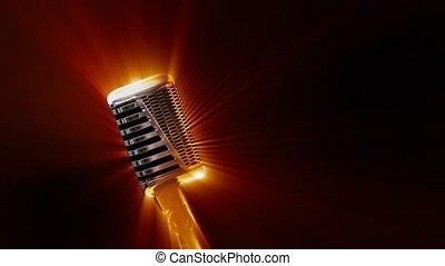 retro, mikrofon, z, świecić