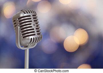 retro, mikrophon, mit, bokeh, hintergrund