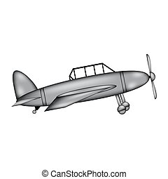 Retro military airplane sign icon.