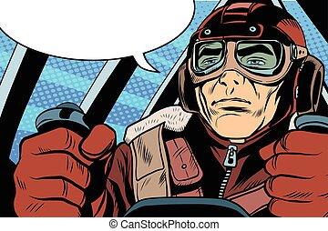 retro military Aviator pilot pop art retro style. The first...