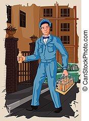 Retro milkman distributing milk