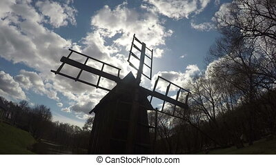 retro mill windmill sky