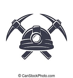 Retro mining logo with hard hat helmet and two crossed ...