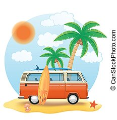retro minivan with a surfboard on the beach vector...