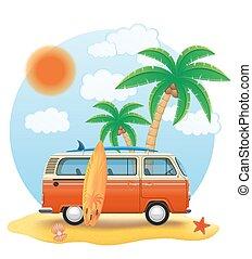 retro minivan with a surfboard on the beach vector...