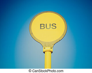retro, mirada, parada de autobús
