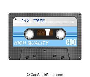 Retro Mix Tape - Detailed retro C90 audio cassette with mix...