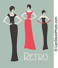 retro, moda modela