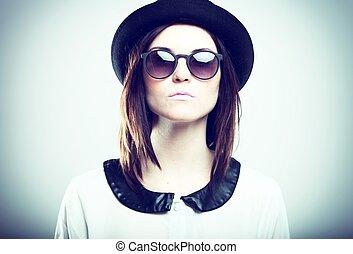 retro, moda, retrato, de, elegante, mulher