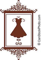 retro, mode, boutique, meldingsbord, met, jurkje