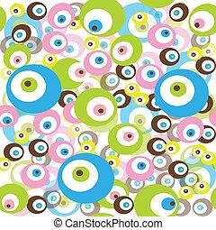 retro, model, met, gekleurde, cirkels