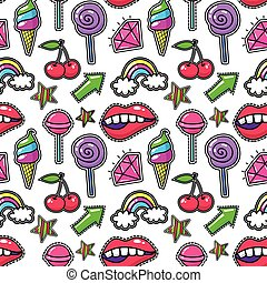 Retro modern fashion background with crystal and lips, rainbow ice cream. Fashioned print seamless pattern