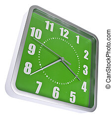Retro Modern Green and Silver Clock Isolated on White with a...