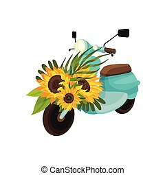 Retro moped with sunflowers. Vector illustration on white background.