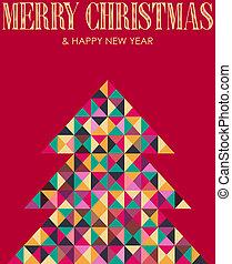Retro mosaic Christmas pine tree