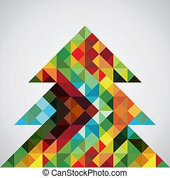Retro mosaic Christmas tree - Contemporary multicolored ...