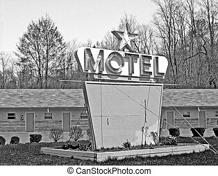 Retro Motel - Retro motel with blank sign