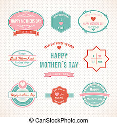 Retro Mothers Day label set design