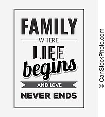 "Retro motivational quote. "" Family where life begins and..."