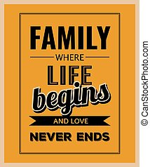 """Retro motivational quote. """" Family where life begins and love never ends"""" ."""