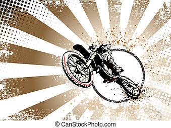 retro, motocross, 海報, 背景