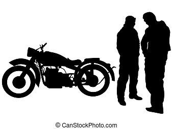 Retro motor and man