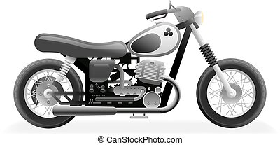 Retro Motorcycle Bike Icon Isolated Realistic 3d Design Vector Illustration