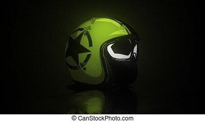 Retro motorcycle helmet and goggles video