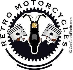 Retro motorcycle logo design vector