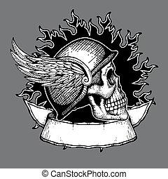 Retro motorcycle vector t shirt design biker skull emblem
