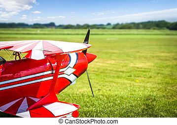 retro, motorflugzeug, bereit, nehmen, von, auf, a, grünes feld