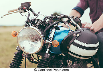 retro, motorkerékpár, részletez