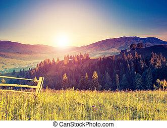 retro mountain landscape