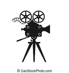 Retro movie camera black silhouette on white background