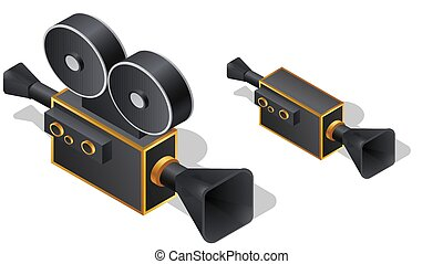Retro movie camera isometric icons, cartoon vector