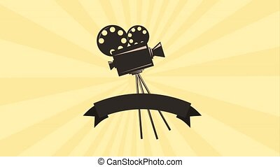retro movie film projector reel strip banner animation hd