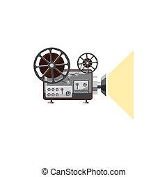 Retro movie projector icon, cartoon style