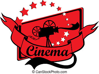 Retro Cinema Design With Old Movie Camera In Black and Red