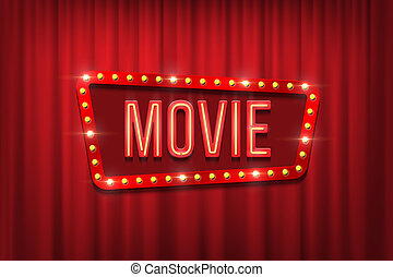Retro movie sign with bulb frame on red curtain background. Vector illustration.