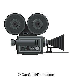 Retro Movie Video Camera Icon on White Background. Vector